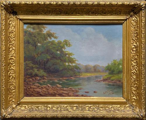 Beautiful Original 1921 Antique Riverscape Landscape Oil Painting (1 of 10)