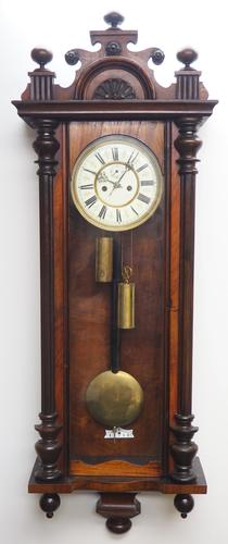 Great Antique German Twin Walnut 8-Day Mantel Clock Vienna Striking Wall Clock (1 of 11)