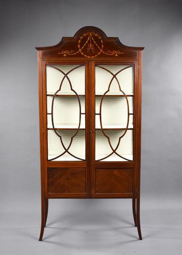 Antique English Edwardian Mahogany Display Cabinet (1 of 8)