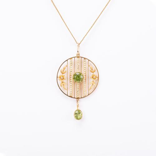 Antique Edwardian Peridot and Pearl Pendant and Gold Chain c.1901 (1 of 6)