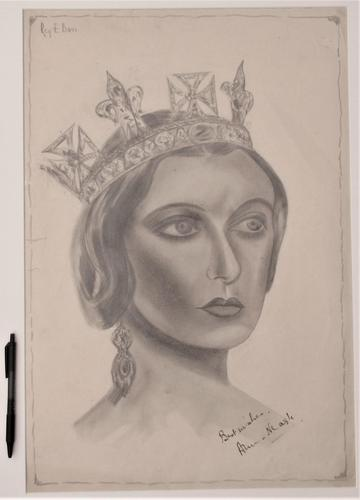Large original autographed drawing, Anna Neagle as Queen Victoria, 1937 (1 of 5)