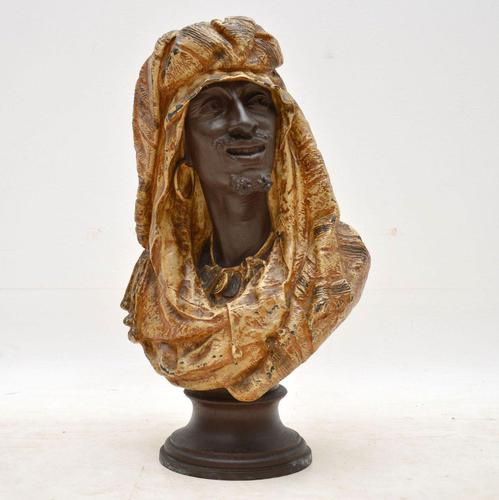 Antique Bronzed Spelter Bust of a Moorish Man (1 of 10)