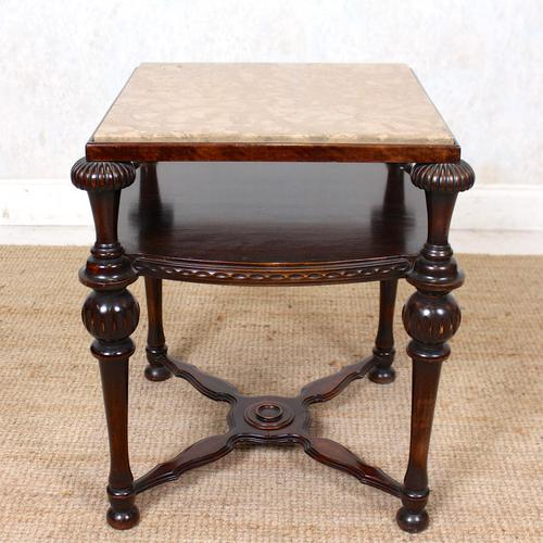 Marble Oak Side Table Continental Queen Anne (1 of 10)