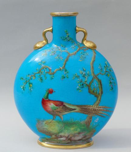 Minton Porcelain Moon Flask William Mussill 1875 Bleu Celeste (1 of 10)