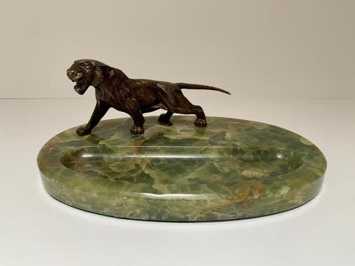 Art Deco Brazilian Onyx Desk Tidy with Bronze Tiger (1 of 3)