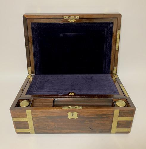 Superb Antique Victorian Rosewood Brass Bound Writing Slope Box (1 of 15)