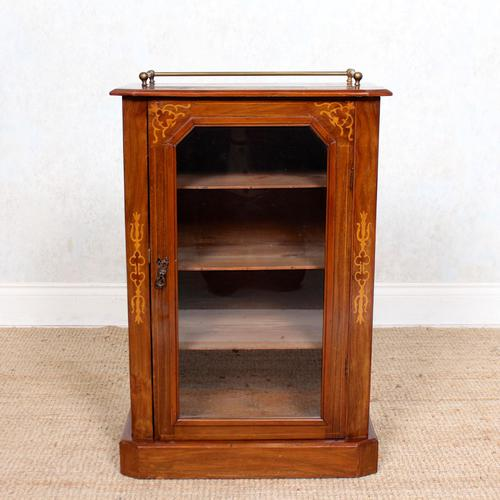Music Cabinet Glazed Inlaid Walnut Bookcase 19th Century (1 of 10)