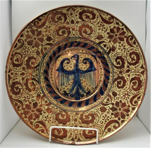 Large 19th Century Spanish Copper Lustre Charger in Hispano-moresque Revival Style (1 of 7)