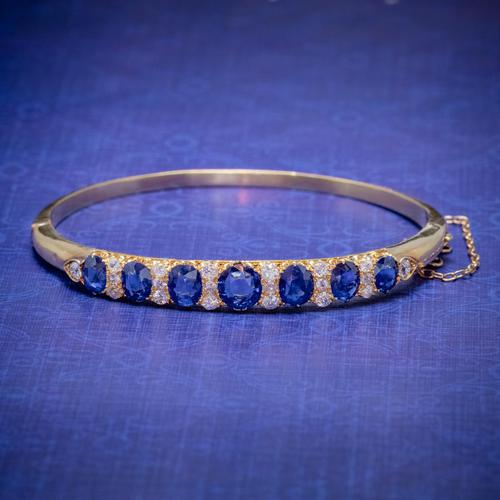 Antique Victorian Sapphire Diamond Bangle 18ct Gold 5.46ct Of Natural Sapphire With Cert (1 of 7)
