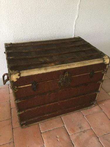 """19th Century French """"Louvre Paris"""" Vellum, Leather & Rattan Tarvelling Trunk with Tray 'like Louis Vuitton' (1 of 10)"""