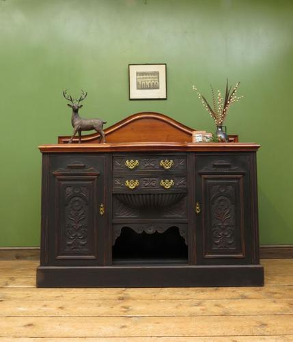 Art Nouveau Black Painted Sideboard, Gothic shabby chic (1 of 16)