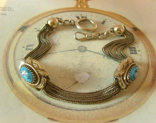 Antique Pocket Watch Chain 1880s Victorian Silver Nickel & Enamel Fancy Albert (1 of 11)