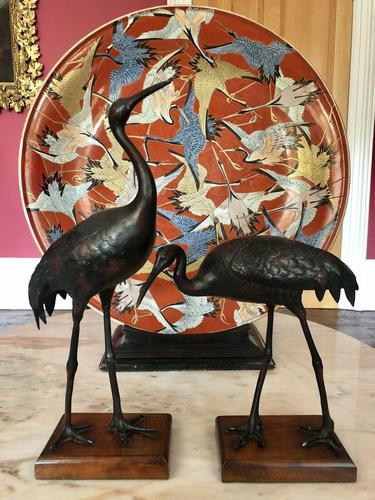 Antique Pair of Japanese Bronze Metal Crane Sculptures (1 of 12)