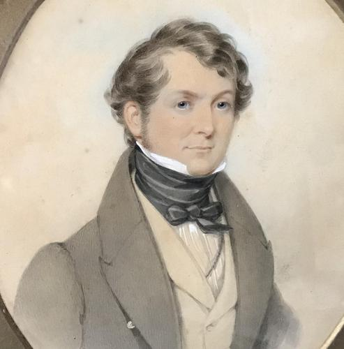 Antique Watercolour  Sketch of a Gentleman in Oval Frame (1 of 3)
