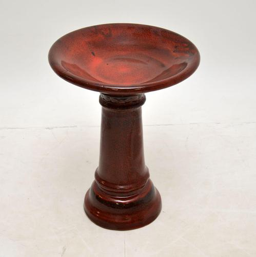 Vintage Pottery Flower Bowl / Bird Bath on Stand (1 of 5)