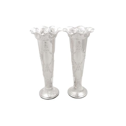 """Pair of Antique Edwardian Sterling Silver 8"""" Vases 1903 (1 of 8)"""