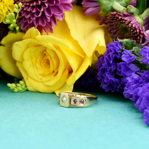 The Antique Victorian 1892 Pearl & Ruby Ring (1 of 6)
