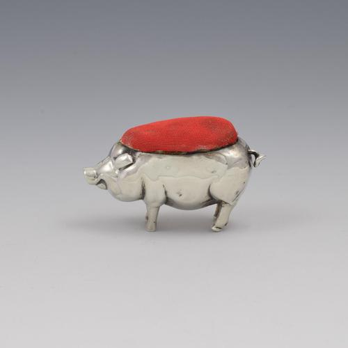 Edwardian Novelty Silver Pig Pin Cushion Henry Matthews 1903 (1 of 10)