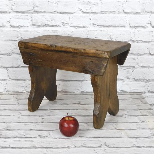 Antique Pine Bench Stool (1 of 5)