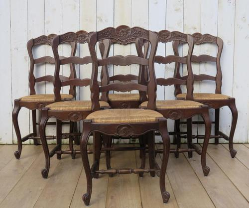 Six Oak & Rush Seated Dining Chairs (1 of 8)