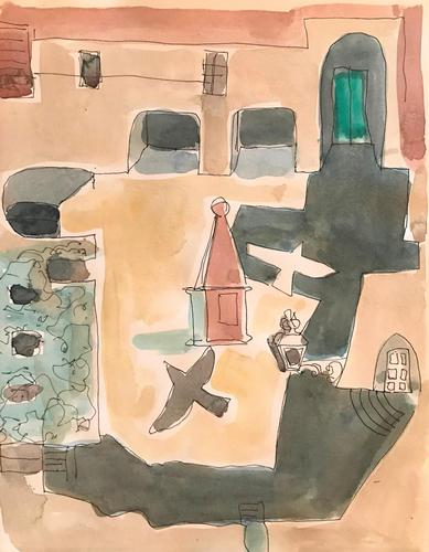 Original Watercolour 'A Tuscan Courtyard' by Toby Horne Shepherd 1909-1993. Signed c.1965 (1 of 1)
