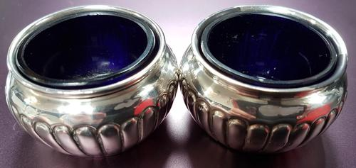 Pair of Sterling Silver Salts t/w Blue Liners (1 of 3)