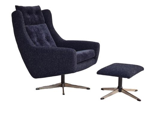 Danish Swivel Armchair with Stool, Completely Renovated-reupholstered, Furniture Wool, Retro Velor, 70s (1 of 17)