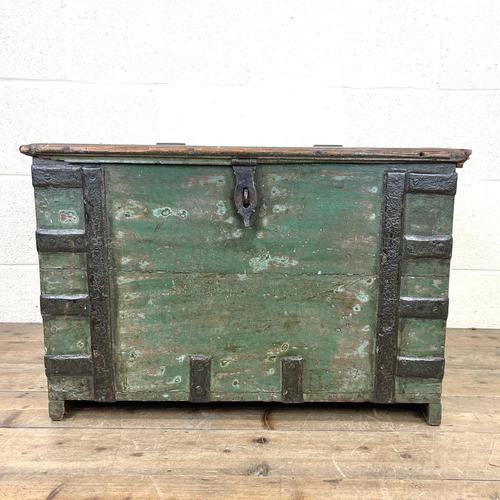 Distressed Painted Metal Bound Trunk (1 of 10)