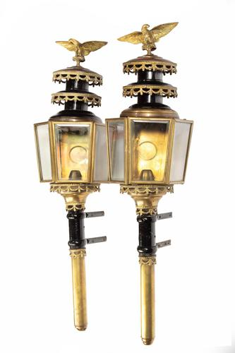Pair of Well Patinated Bronze & Gilt Bronze Coach Lamps (1 of 9)