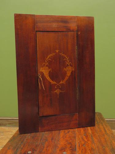 Small Inlaid Antique Corner Cupboard with Blue Interior, Lockable (1 of 14)
