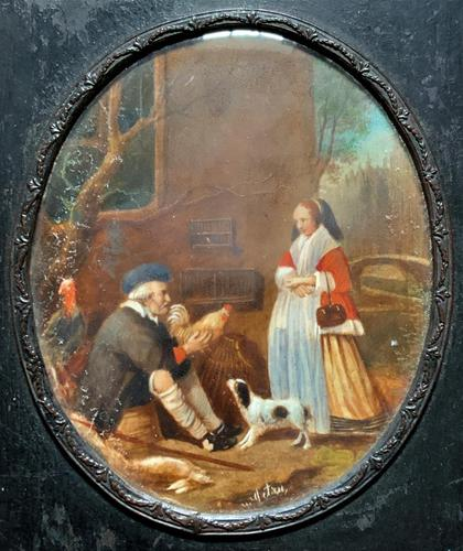 After: Gabriel Metsu (1629-1667) 'The Game Seller' 19thc Miniature Oil Painting (1 of 12)