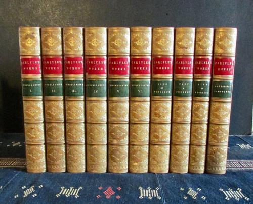 1869  Works of Thomas Carlyle,  10  Volumes Bound in  Fine Full Tree Calf Leather (1 of 5)