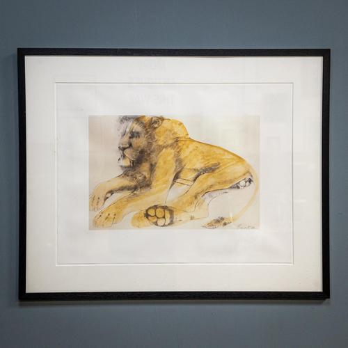 Lithograph of Recumbent Lion (1 of 6)