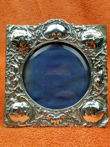 Antique Sterling Silver Reynolds Angels  Picture Frame with Bevelled Glass C1900 (1 of 12)