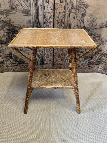 19th Century Bamboo Occasional Table with Wicker Top (1 of 4)