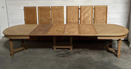 Huge Bleached Oak French Extending Dining Table (1 of 24)