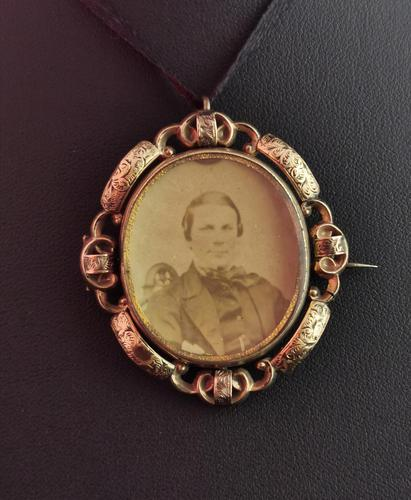 Victorian Mourning Pendant, Swivel Brooch, Hairwork (1 of 10)