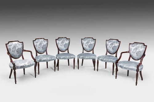Set of Six Late 19th Century Hepplewhite Design Chairs (1 of 12)
