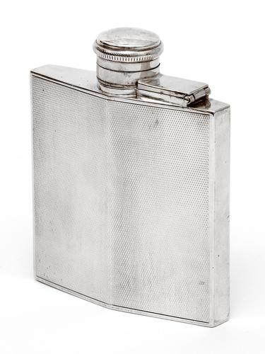 Vintage Square Silver Hip Flask with an Engine Turned Body (1 of 6)
