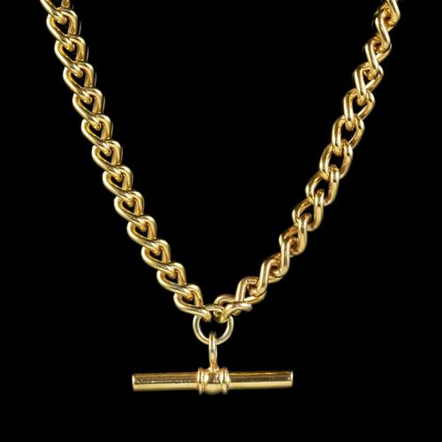 Antique Victorian Albert Chain Necklace 18ct Gold Gilt Sterling Silver c.1900 (1 of 5)