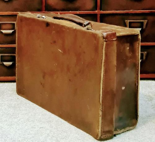 Antique 19th Century Small Brown Leather Suitcase (1 of 6)