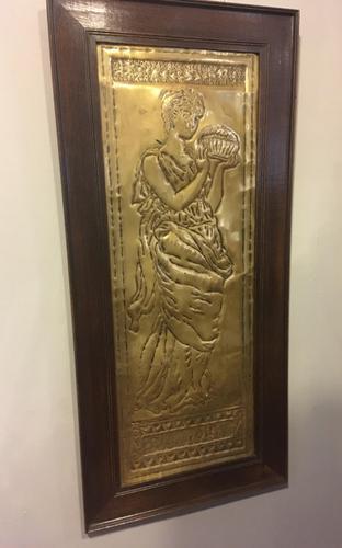 "Art Nouveau Brass Plaque "" Pandora"" (1 of 6)"