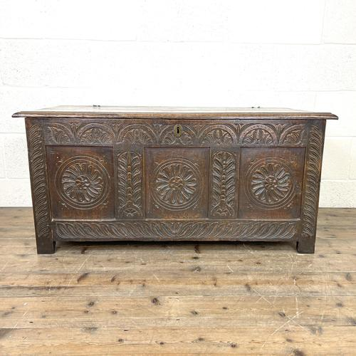 Antique 18th Century Carved Oak Coffer (1 of 10)