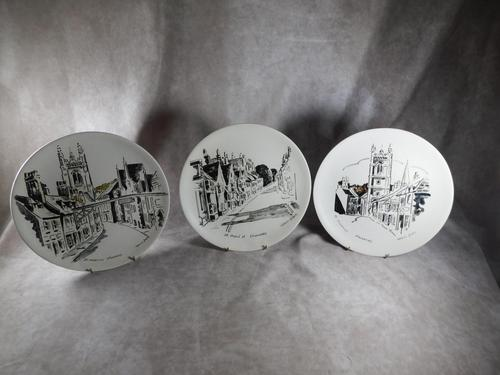 "Three Large  ""Views of Stamford"" Plates painted by Arthur Dilkes (1 of 8)"