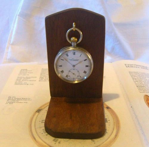 Vintage Wooden Pocket Watch Stand 1940s Dark Oak Robust & Sturdy (1 of 8)