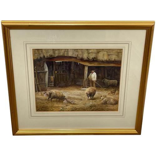 "Watercolour ""Tending The Sheep"" By Bertha Rhodes RA Rca Exh 1905 -1912 (1 of 41)"