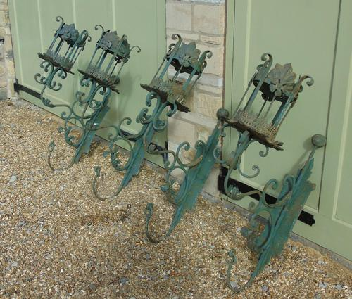Antique Spanish Style Wrought Iron Wall Scones Set of Four (1 of 8)