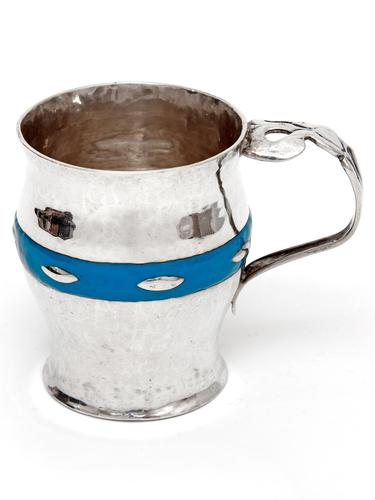 Arts and Crafts Christening Mug with Hammered Style Body and Blue Enamel Band (1 of 5)