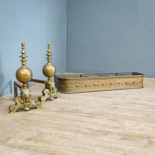 Victorian Brass Andirons & Fender (1 of 9)