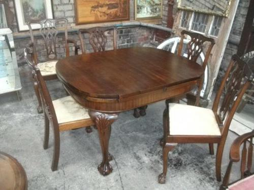 7 Piece Carved Mahogany Ball & Law Dining Set (1 of 9)